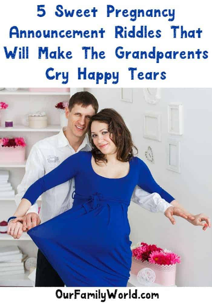 These are adorable! 5 sweet riddles for your pregnancy announcements for the grandparents.