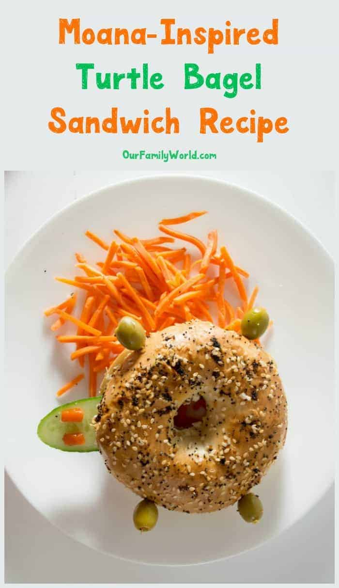 With back to school season right around the corner, it's time to plan some easy lunch recipes! Kids will go crazy for this adorable Moana-inspired turtle bagel sandwich recipe!